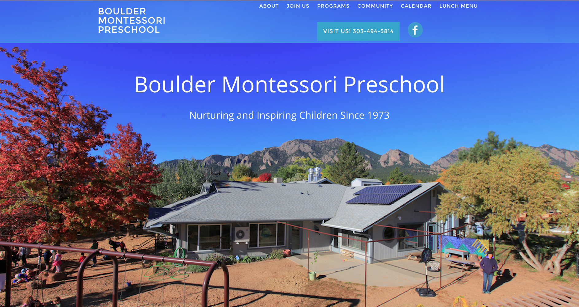 front page image for the Boulder Montessori website