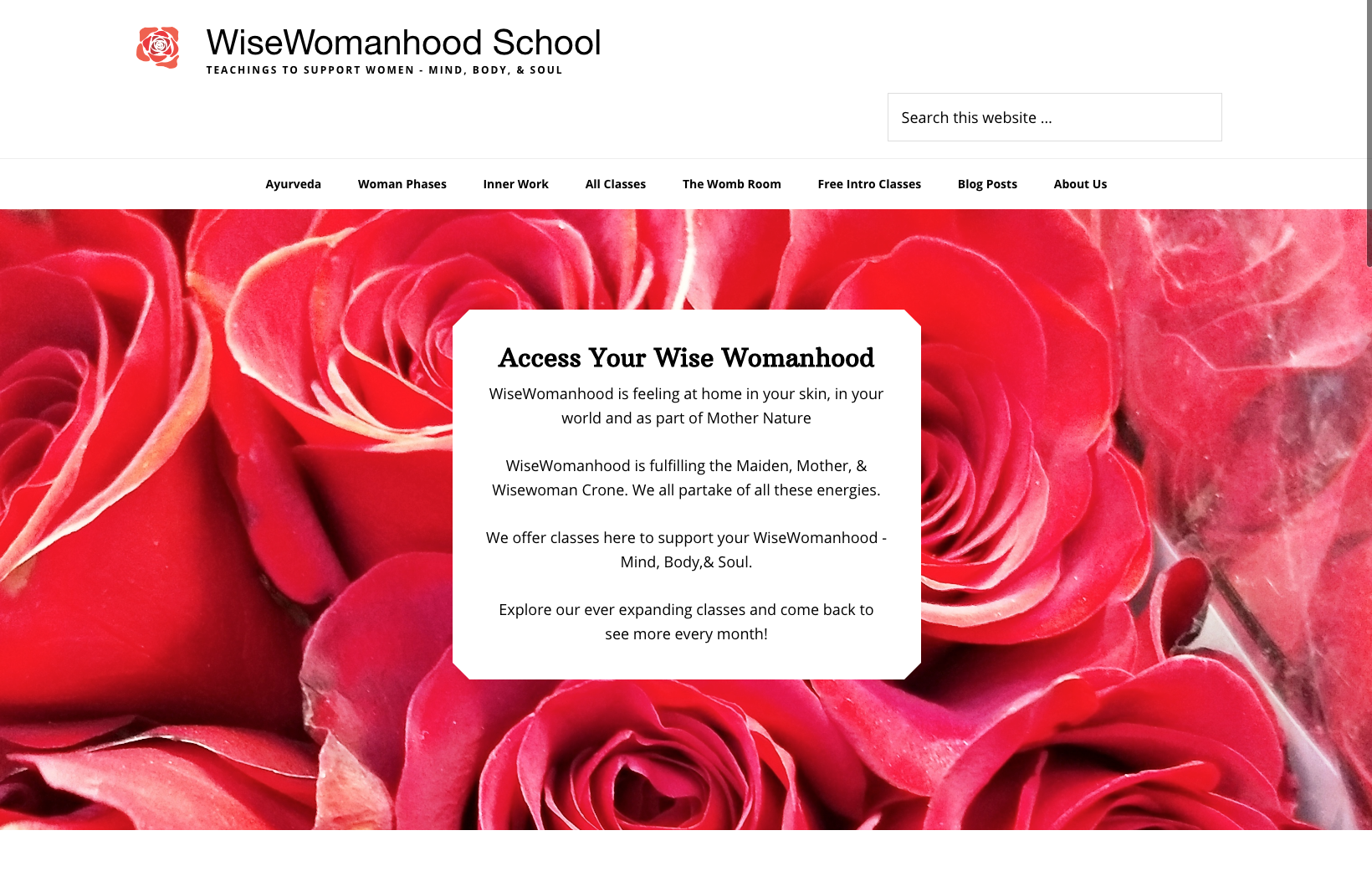 Wisewomanhood Front page w roses