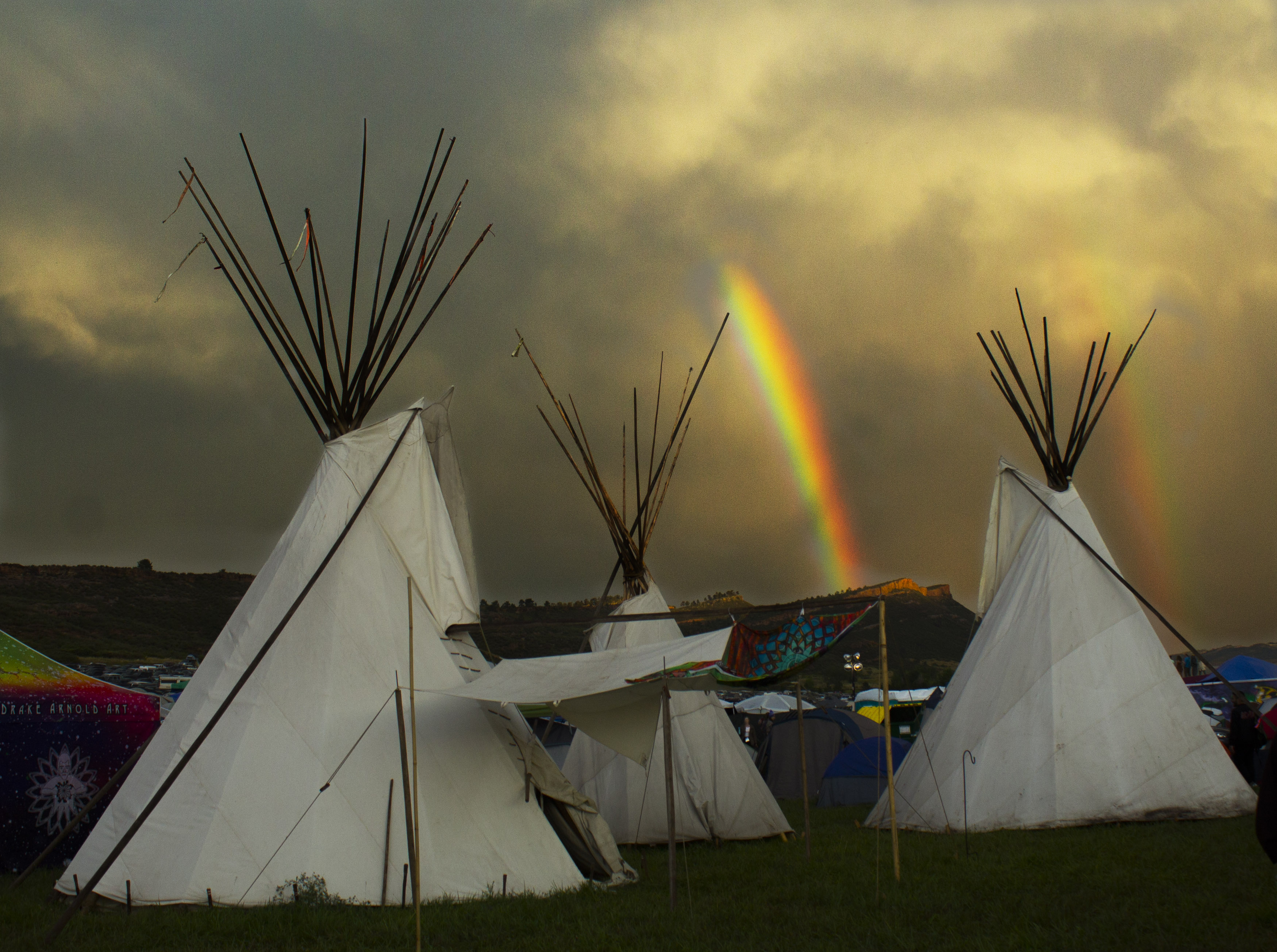 triple teepee with rainbows